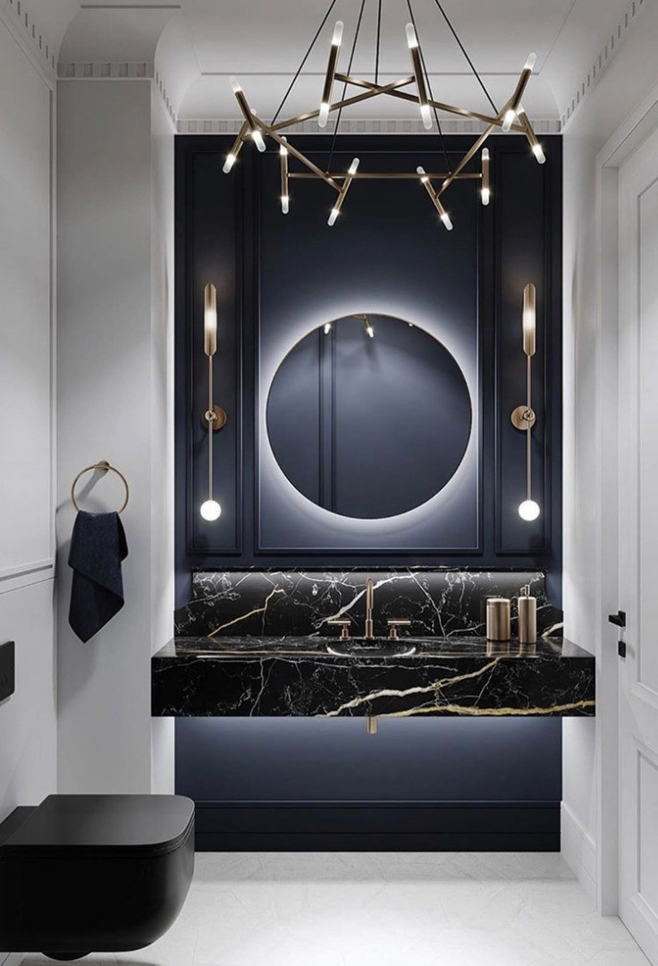a bathroom with a large mirror