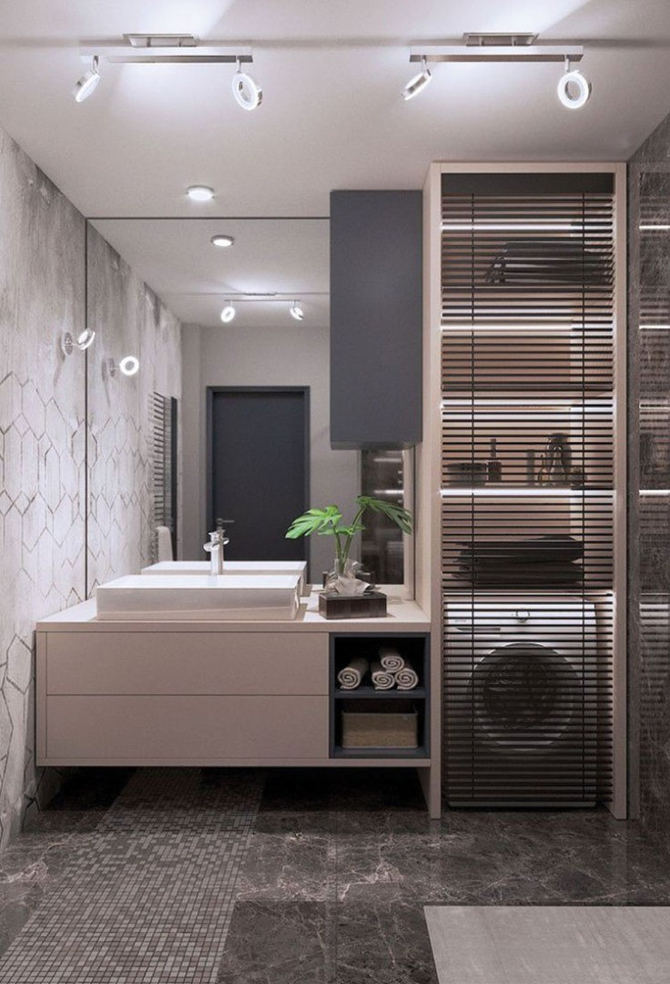 a bathroom with a shower unit and a sink