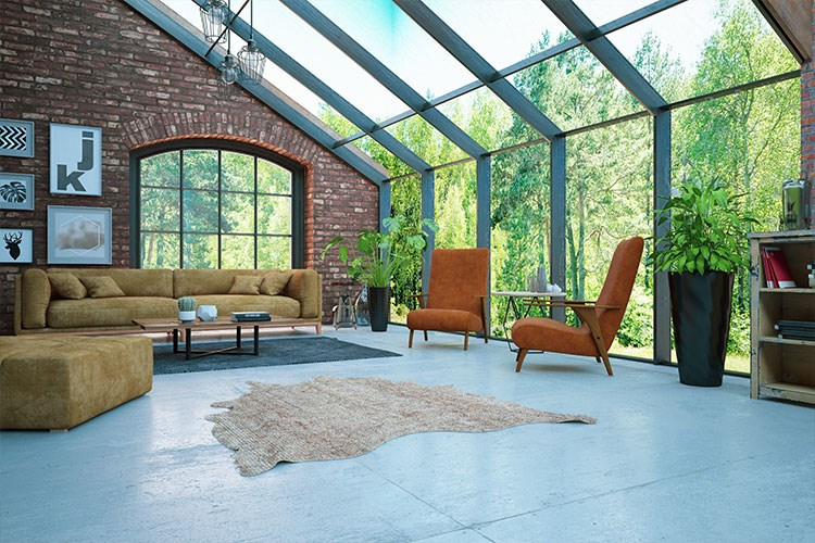 a living room with a large glass wall