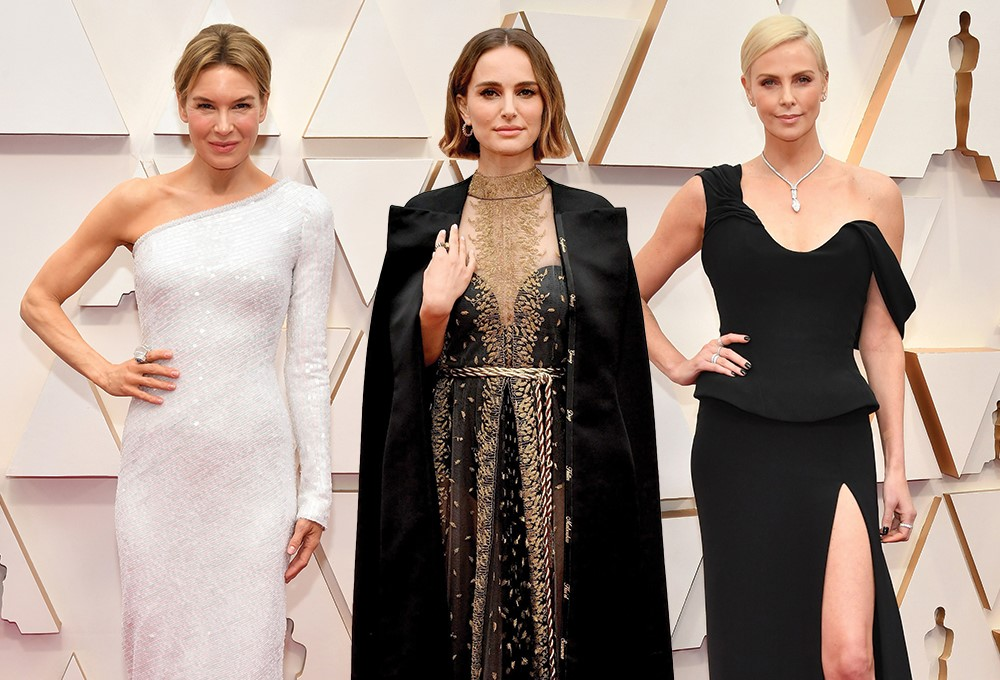 Natalie Portman, Renee Zellweger, Charlize Theron are posing for a picture