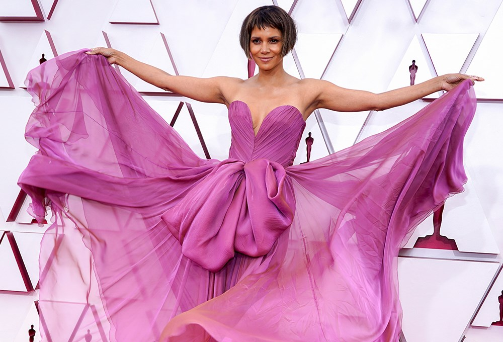 Halle Berry in a pink dress