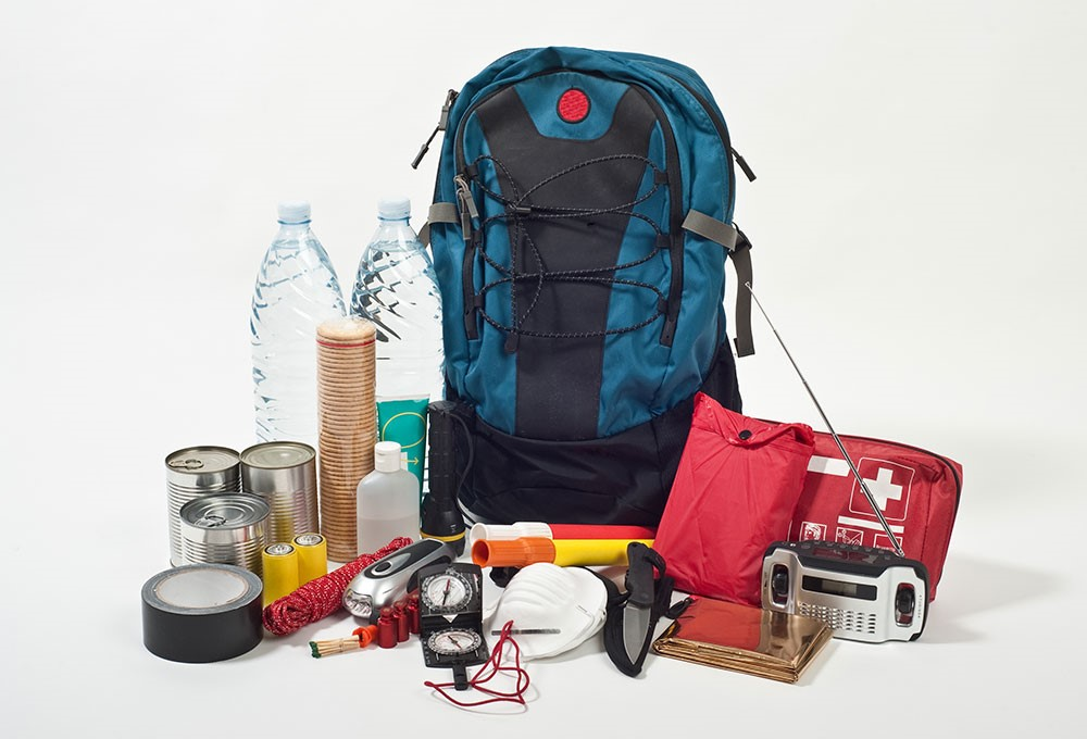 a backpack and various items