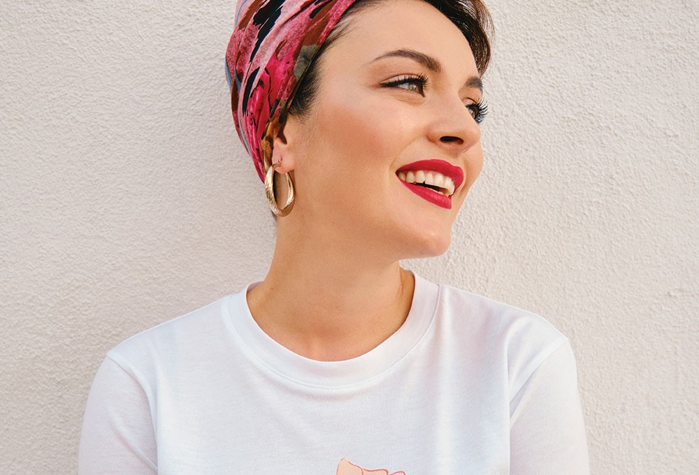 a woman with a red headband
