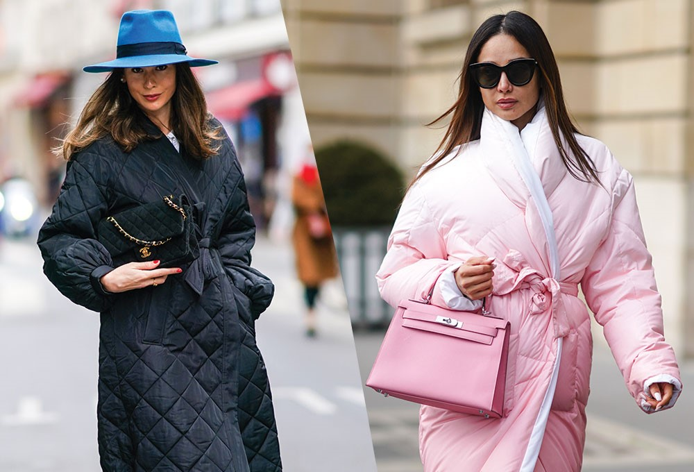 a woman in a pink coat and a woman in a blue hat