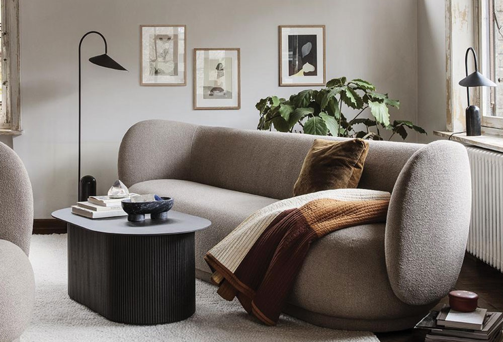 a couch with a coffee table