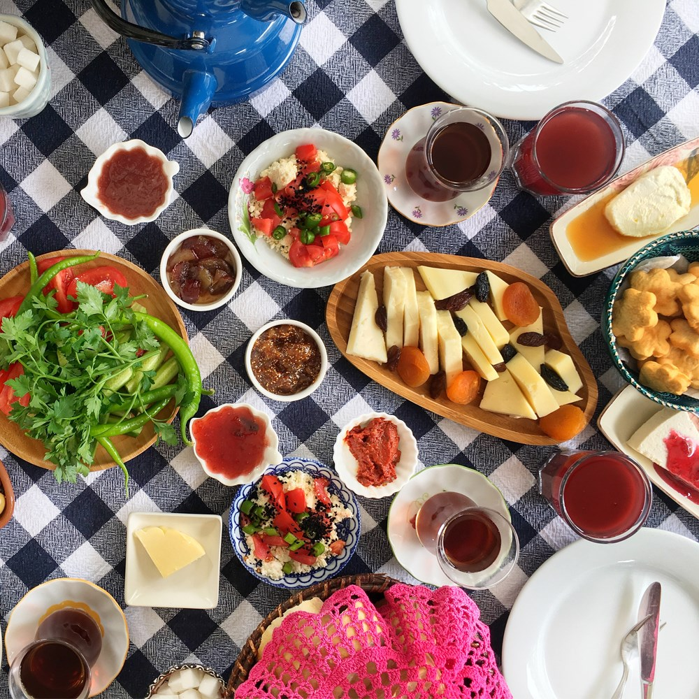 a table full of food